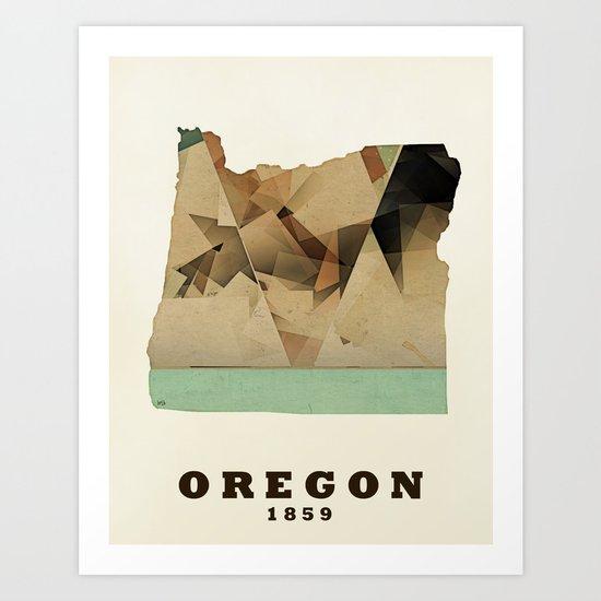 Oregon state map modern Art Print