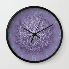 Vintage Lavender Watercolor Mandala Wall Clock