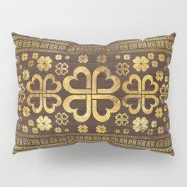 Shamrock Four-leaf Clover Wood and Gold Pillow Sham