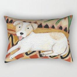 Jack Russel Terrier on Aztec rug painting Rectangular Pillow