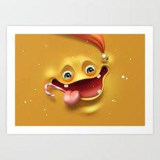 Christmas mad face Art Print