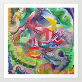 BIZY BRAINZ (center) Art Print