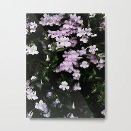 Trumpet Flowers Noir Metal Print