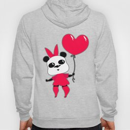 Pretty funny panda with a huge pink bow and a ballpanda Hoody
