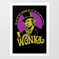 willy wonka Art Prints featuring Willy W quote v2 by Buby87