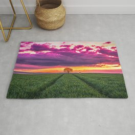 Lonely Tree On Meadow At Beautiful Evening Red Ultra HD Rug