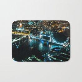 Aerial view of Tower Bridge at Night Bath Mat