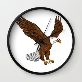 Bald Eagle Flying Drawing Wall Clock