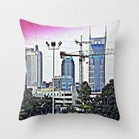 nashville Throw Pillows featuring Nashville Grit by Andooga Design