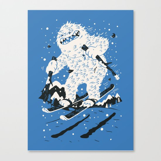 Skiing Yeti Canvas Print