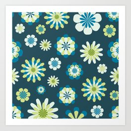 Floral Pattern in shades of blue, apple green, yellow and white Art Print