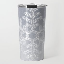 Typographic Snowflake Greetings - Silver Grey Travel Mug