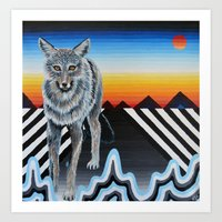 Geometric Coyote Art Print