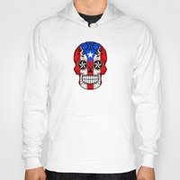 puerto rico Hoodies featuring Sugar Skull with Roses and Flag of Puerto Rico by Jeff Bartels
