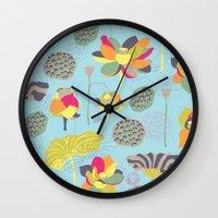 lotus flower Wall Clocks featuring Lotus by Ferntree Studio