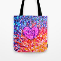 scripture Tote Bags featuring CHOOSE JOY Christian Art Abstract Painting Typography Happy Colorful Splash Heart Proverbs Scripture by The Faithful Canvas