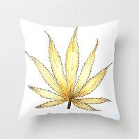 cannabis Throw Pillows featuring Golden Cannabis by  Can Encin