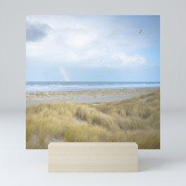 Rainbow Ocean and Beach Dune Grass   Travel landscape photography art print   Blue sea coast Mini Art Print