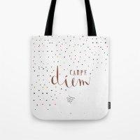 carpe diem Tote Bags featuring Carpe Diem by Earthlightened