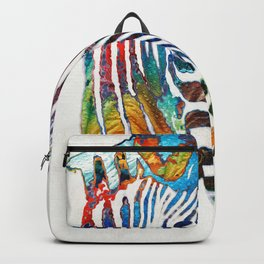 Colorful Zebra Face by Sharon Cummings Backpack