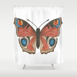 Peacock Butterfly Illustration Shower Curtain