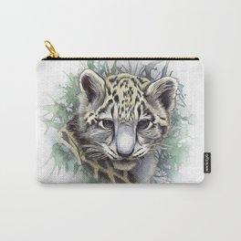 Snow Leopard Cub Watercolor Portrait Carry-All Pouch
