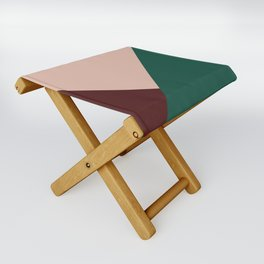 Burgundy and Green Geometric Folding Stool
