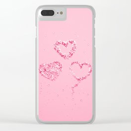 Light Red Pink LOVE Glitter Hearts #1 #shiny #decor #art #society6 Clear iPhone Case