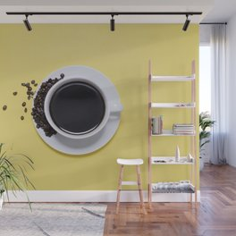 Black Cup of Coffee with Coffee Beans on Yellow Wall Mural