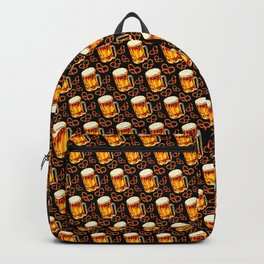 Beer & Pretzel Pattern - Black Backpack
