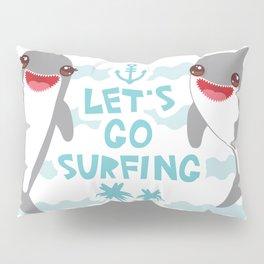 Lets go surfing. Cartoon kawaii dolphin Pillow Sham
