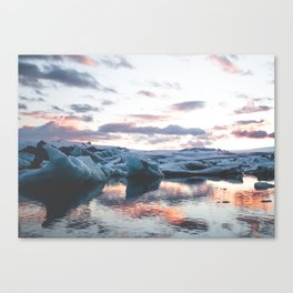 Sunset over the glacier lagoon Canvas Print