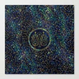 Gemini Zodiac Gold Abalone on Constellation Canvas Print