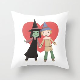Cute witch and scarecrow Throw Pillow