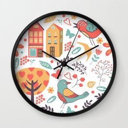 Spring in town Wall Clock