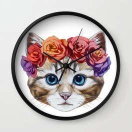 Portrait of Cat with  floral head wreath. Wall Clock