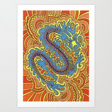 Dragon Drawing Meditation Art Print