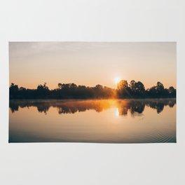 Dawn Mist Over Long Run Lake Rug
