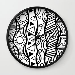 Four Waves - Freestyle Tribal Doodle Design Wall Clock