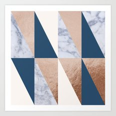 Copper Navy Marble Art Print