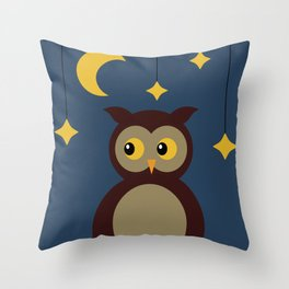 Brown Owl Moon Throw Pillow