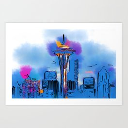 The Space Needle In Soft Abstract Art Print
