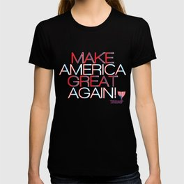 Make America Great Again w/ Trump Trumpet & Flag logo - black T-shirt
