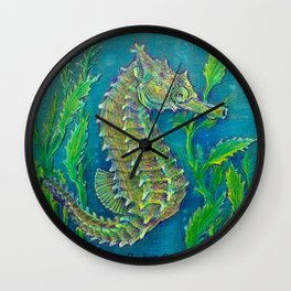 Sea Horse #3 Original Art By Catherine Coyle Wall Clock