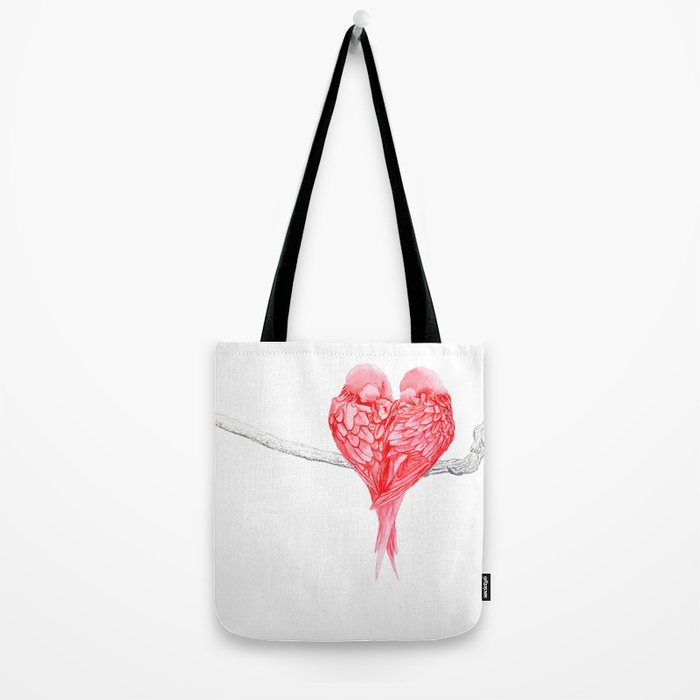 Red Heart Birds Love Tote Bag