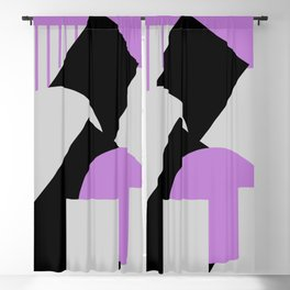 Geometrical abstract art deco mash-up gray purple black Blackout Curtain