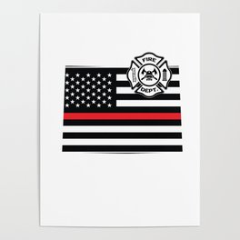 Colorado Firefighter Shield Thin Red Line Flag Poster