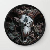 goat Wall Clocks featuring Goat by Sarah Van Neyghem