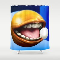 pacman Shower Curtains featuring PacMan by Joshua A. Biron