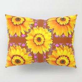 CINNAMON COLOR YELLOW SUNFLOWERS ART Pillow Sham